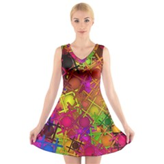 Fun,fantasy And Joy 5 V Neck Sleeveless Skater Dress