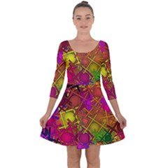 Fun,fantasy And Joy 5 Quarter Sleeve Skater Dress