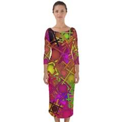 Fun,fantasy And Joy 5 Quarter Sleeve Midi Bodycon Dress