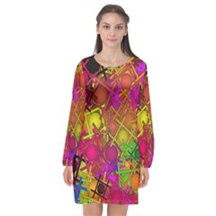 Fun,fantasy And Joy 5 Long Sleeve Chiffon Shift Dress