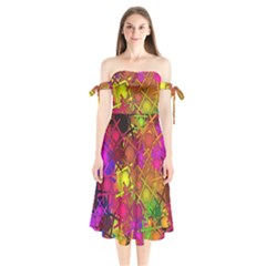 Fun,fantasy And Joy 5 Shoulder Tie Bardot Midi Dress