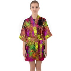 Fun,fantasy And Joy 5 Quarter Sleeve Kimono Robe