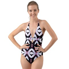 Japan Is A Beautiful Place In Calm Style Halter Cut Out One Piece Swimsuit