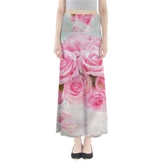 Pink Roses Full Length Maxi Skirt
