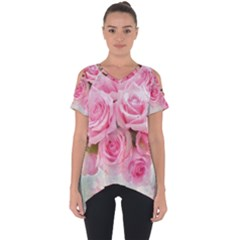 Pink Roses Cut Out Side Drop Tee
