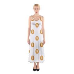 Bitcoin Logo Pattern Sleeveless Maxi Dress