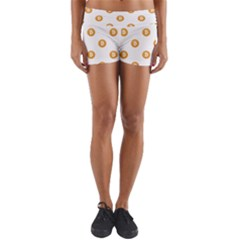 Bitcoin Logo Pattern Yoga Shorts