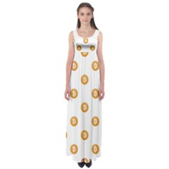 Bitcoin Logo Pattern Empire Waist Maxi Dress