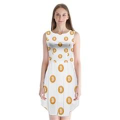 Bitcoin Logo Pattern Sleeveless Chiffon Dress