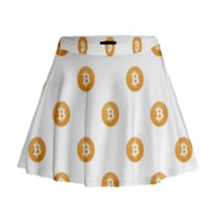 Bitcoin Logo Pattern Mini Flare Skirt