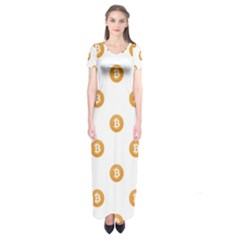 Bitcoin Logo Pattern Short Sleeve Maxi Dress