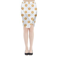 Bitcoin Logo Pattern Midi Wrap Pencil Skirt