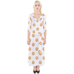 Bitcoin Logo Pattern Quarter Sleeve Wrap Maxi Dress