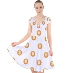 Bitcoin Logo Pattern Cap Sleeve Front Wrap Midi Dress