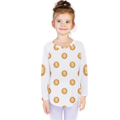 Bitcoin Logo Pattern Kids  Long Sleeve Tee