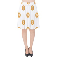 Bitcoin Logo Pattern Velvet High Waist Skirt