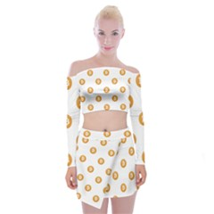 Bitcoin Logo Pattern Off Shoulder Top With Mini Skirt Set