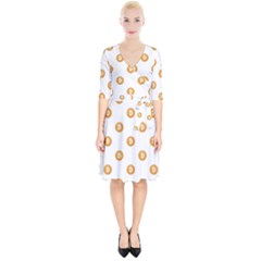 Bitcoin Logo Pattern Wrap Up Cocktail Dress