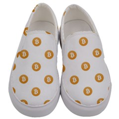 Bitcoin Logo Pattern Men s Canvas Slip Ons