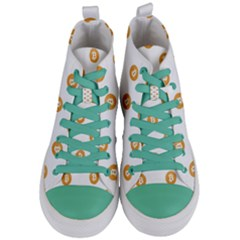 Bitcoin Logo Pattern Women s Mid Top Canvas Sneakers