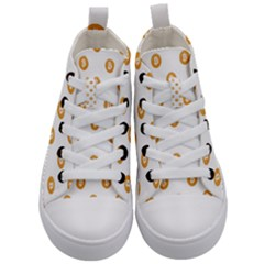 Bitcoin Logo Pattern Kid s Mid Top Canvas Sneakers