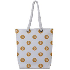 Bitcoin Logo Pattern Full Print Rope Handle Tote (small)