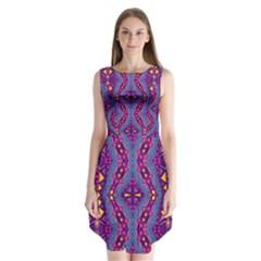 Aztec Purple Pattern Sleeveless Chiffon Dress