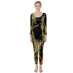 Artistic Effect Fractal Forest Background Long Sleeve Catsuit