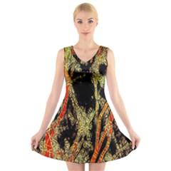 Artistic Effect Fractal Forest Background V Neck Sleeveless Skater Dress