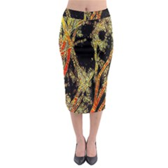 Artistic Effect Fractal Forest Background Midi Pencil Skirt