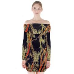 Artistic Effect Fractal Forest Background Long Sleeve Off Shoulder Dress