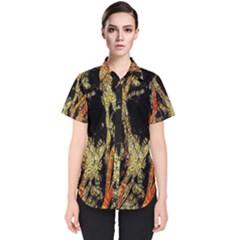 Artistic Effect Fractal Forest Background Women s Short Sleeve Shirt