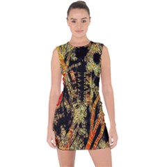 Artistic Effect Fractal Forest Background Lace Up Front Bodycon Dress