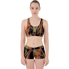 Artistic Effect Fractal Forest Background Work It Out Sports Bra Set