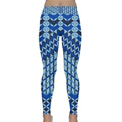 Flower Of Life Pattern Blue Classic Yoga Leggings