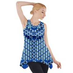 Flower Of Life Pattern Blue Side Drop Tank Tunic
