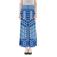 Flower Of Life Pattern Blue Full Length Maxi Skirt