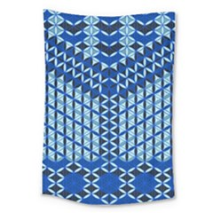 Flower Of Life Pattern Blue Large Tapestry