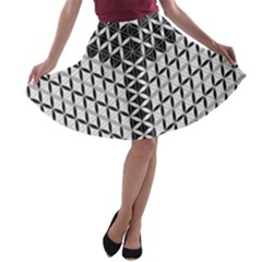 Flower Of Life Grey A Line Skater Skirt