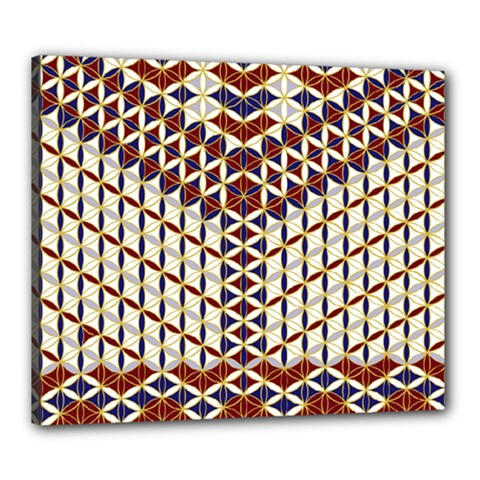 Flower Of Life Pattern Red Blue Canvas 24  X 20