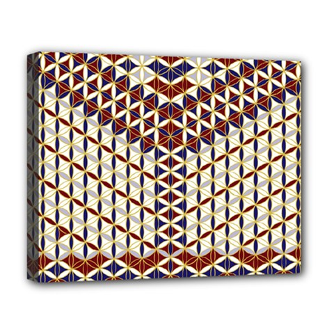 Flower Of Life Pattern Red Blue Deluxe Canvas 20  X 16