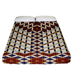 Flower Of Life Pattern Red Blue Fitted Sheet (queen Size)