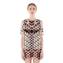 Flower Of Life Pattern Red Blue Shoulder Cutout One Piece