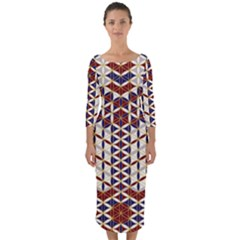 Flower Of Life Pattern Red Blue Quarter Sleeve Midi Bodycon Dress