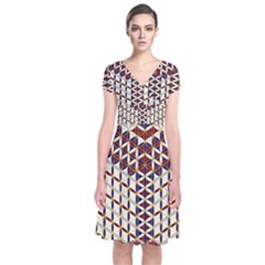 Flower Of Life Pattern Red Blue Short Sleeve Front Wrap Dress