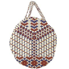 Flower Of Life Pattern Red Blue Giant Round Zipper Tote