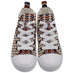 Flower Of Life Pattern Red Blue Kid s Mid Top Canvas Sneakers