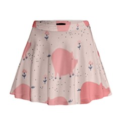 Pigs And Flowers Mini Flare Skirt