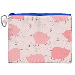 Pigs And Flowers Canvas Cosmetic Bag (xxl)