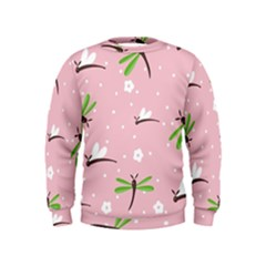 Dragonfly And White Flowers Pattern Kids  Sweatshirt